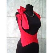 Corsetto corpetto rosso in tessuto di cotone in rosso