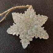 Fiocco di neve in resina argentato