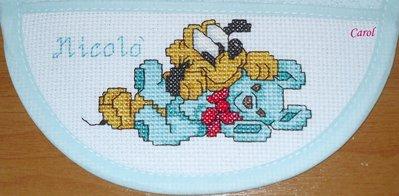 Bavaglino Baby Pluto Punto Croce Bambini Per La Pappa Di