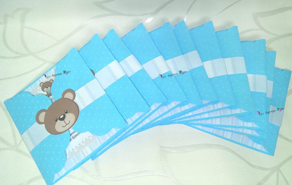 Inviti Orsetto Teddy Bear - Inviti battesimo - Inviti compleanno boy