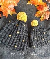 Cappello/berretto donna - mamma e figlio - mamma e bimba - grigio/senape - fatto a mano