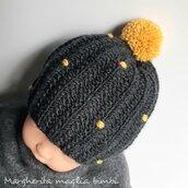 Cappello/berretto neonato - mamma e figlio - mamma e bimba - grigio/senape - fatto a mano