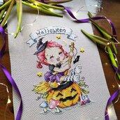 Streghetta Halloween ricamo a punto croce
