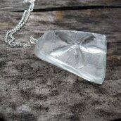 ciondolo in vetro e argento vetro scolpito fatto a mano