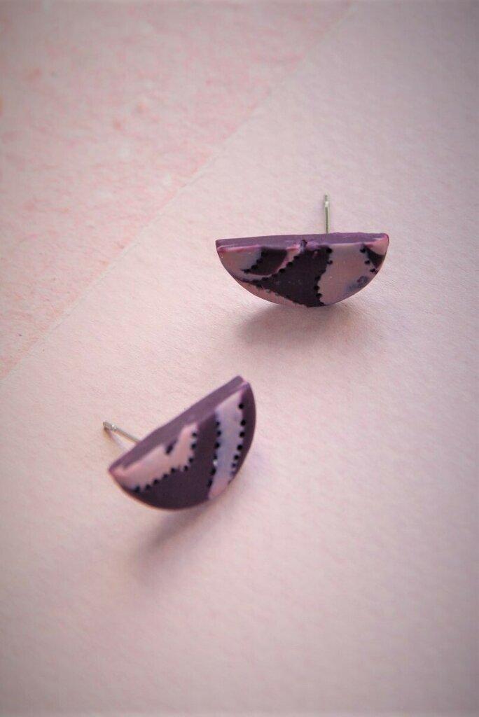 orecchini a lobo in fimo bicolore rosa e viola forma mezzaluna media _032_