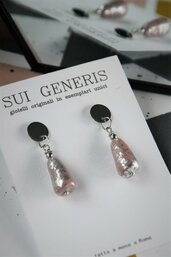 orecchini in fimo pendenti geometrici rosa antico e foglia argento a goccia _035_