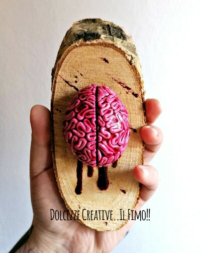 Quadro - Cervello - horror - goth - Quadro con cervello realistico in fimo e cernit - handmade su legno di betulla