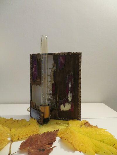 Lampada Artistica in legno e smalti a fuoco