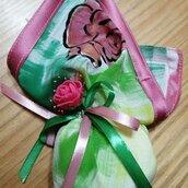 Fazzoletto portaconfetti in seta dipinta
