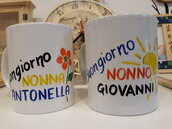 Coppia di tazze per la colazione per i nonni