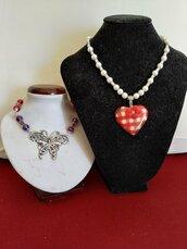 collana cuore scozzese e collana con farfalla