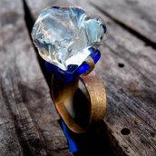 anello argento800 e gemma cristallo fatto a mano