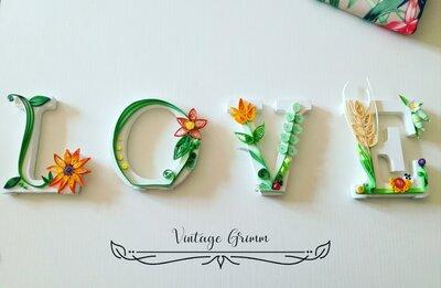 Lettere in legno Love di quilling