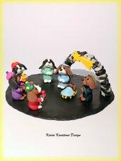 Presepe di cani cavalier king charles spaniel in fimo, idea regalo natale per amanti dei cani, regalo famiglia, miniatura cane cavalier