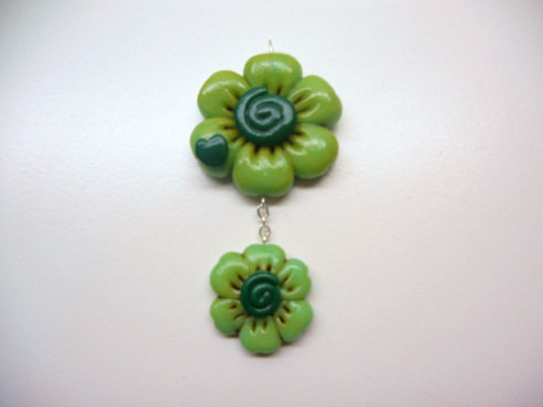 "CIONDOLO IN FIMO ""TWIN GREEN FLO"""