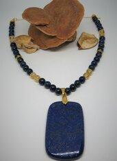 Collana lunga in argento placcata oro con pietre dure lapislazzulo e quarzo citrino naturali fatta a mano