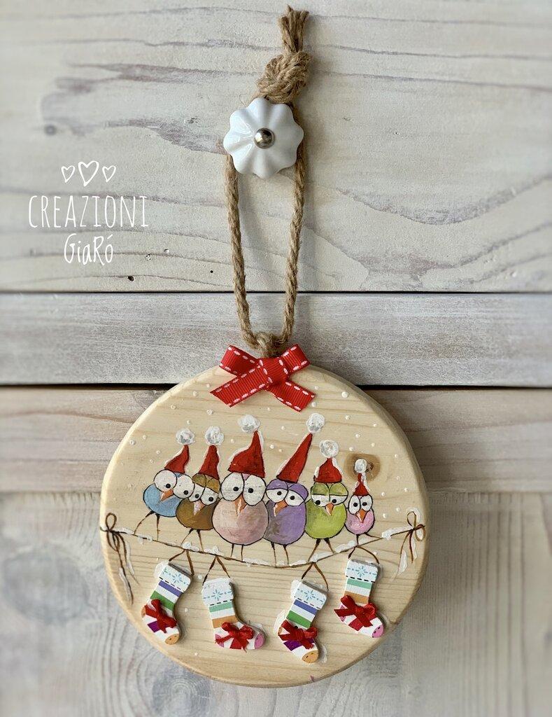 Rondelle di legno massello natalizie