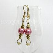 Orecchini pendenti perla rosa