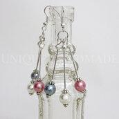 Orecchini pendenti tre perle
