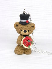 Natale Collana orso orsetto rose cappello kawaii cute fimo