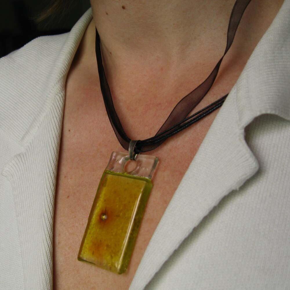 Pendente giallo solare in vetro artistico hand made