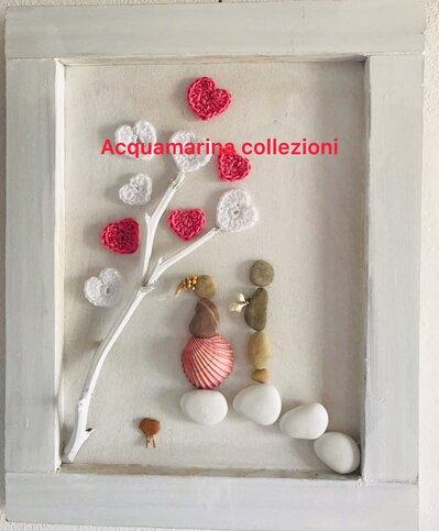 """Quadro decorato con sassi di mare """" dichiarazione d'amore""""Pebble Art"""