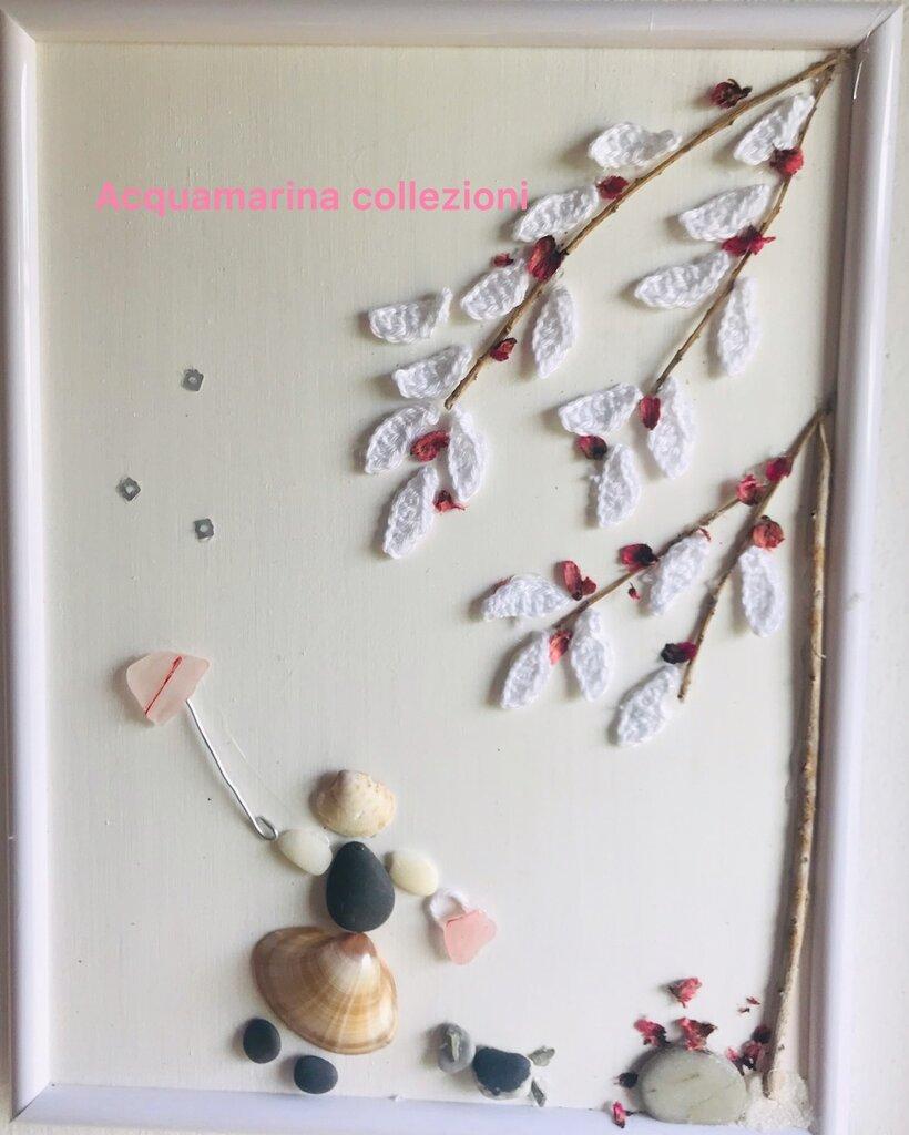"""Quadro decorato con  sassi di mare """"capriccio d'autunno""""Pebble Art"""