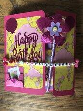 Album per foto primo compleanno bambina, fatto a mano, biglietto auguri.