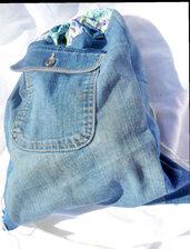 Zaino in jeans e cotone a fiori