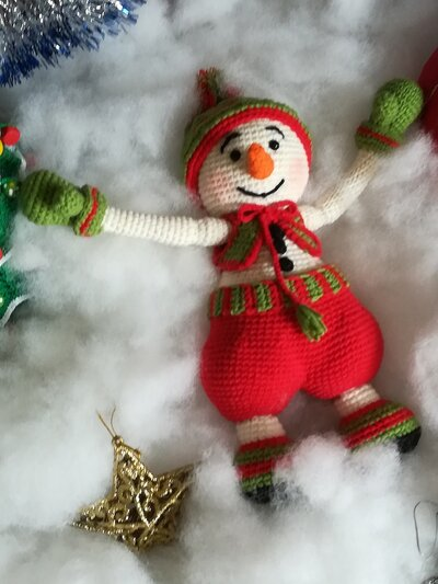 Giocattolo pupazzo di neve Snow § Hand Knitted Crochet Toys § Toy Snowman Snow
