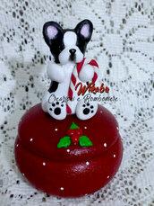 french bulldog realizzato a mano cofanetto scatola portagioie per anelli regalo  natalizio per amanti animali