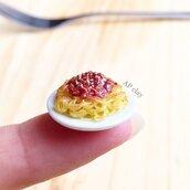 Miniatura spaghetti bolognese realistica in Fimo
