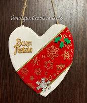 Fuoriporta Natale in legno a forma di cuore - modello 1