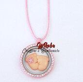 collana maternita' mamma in attesa nascita gioiello pendente piedini rosa
