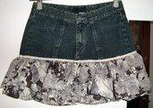 Jeans Mini Skirt Flowers