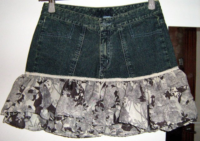 Jeans Mini Skirt Flowers