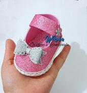 scarpetta bimba rosa glitter porta confetti battesimo nascita feste