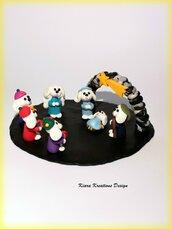 Presepe con cane barboncino in fimo, idea regalo natale per amanti dei barboncini, presepe artigianale in miniatura