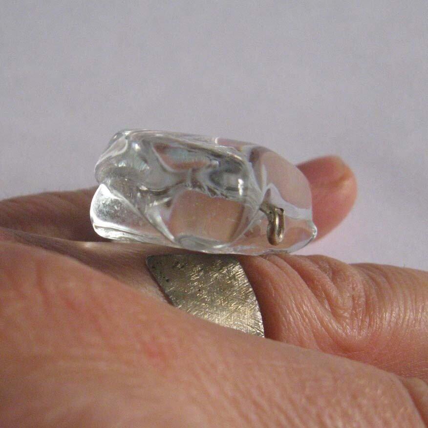 Anello cristallo e argento 800 . fatto a mano