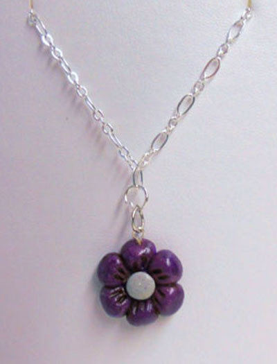 "CIONDOLO IN FIMO ""SMALL VIOLET FLO"""