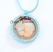 collana azzurra per maschietto per mamme con il pancione o neo mamma per augurio bebè