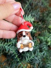 Decorazione natalizia personalizzata con cane cavalier king charles spaniel con il nome sull'osso, addobbi per albero di natale con cane