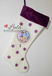 Calza Natale Befana Nome Colore Immagine personalizzata Idea regalo Little Pony Unicorni
