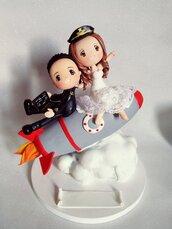 Cake topper sposi stile cartoon con razzo 🚀
