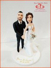 Cake topper sposi stile semi realistico