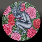 quadro donna in mezzo alle rose
