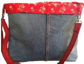 Borsa in jeans con bordo fiori provenzale