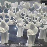 bomboniere albero della vita con sposini  in polvere di ceramica