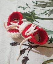 Scarpine  neonato uncinetto crochet converse all star