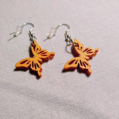 Orecchini farfalle in legno